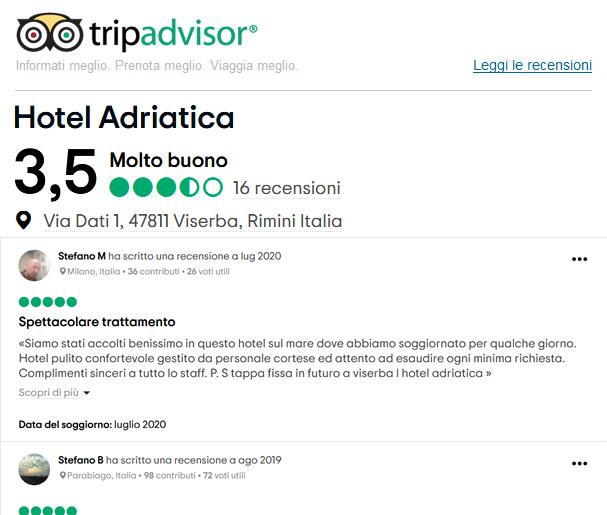 Recensioni Tripadvisor Hotel Adriatica